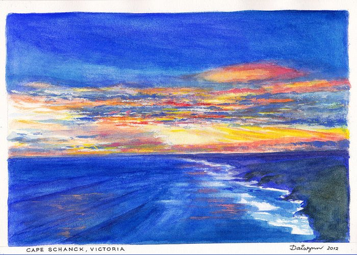 Cape Schanck Greeting Card featuring the painting Sunset Over Point Lonsdale As Viewed From Cape Schanck by Dai Wynn