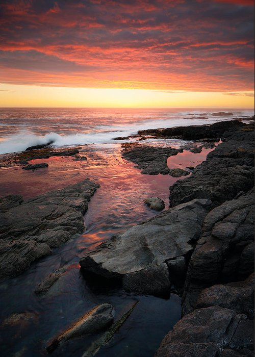 Ocean Greeting Card featuring the photograph Sunset Over Rocky Coastline by Johan Swanepoel