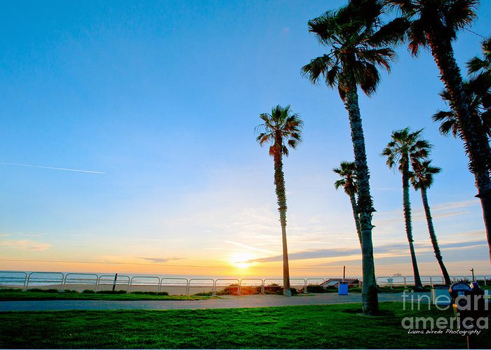 Southern California Sunset Beach Greeting Card featuring the photograph Sunset Over Santa Barbara by Artist and Photographer Laura Wrede