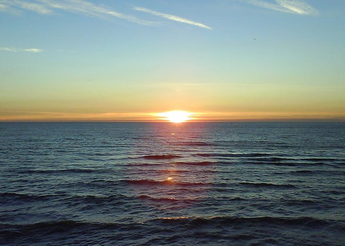 Sunset Over Sea Greeting Card featuring the photograph Sunset Over Sea by Gordon Auld