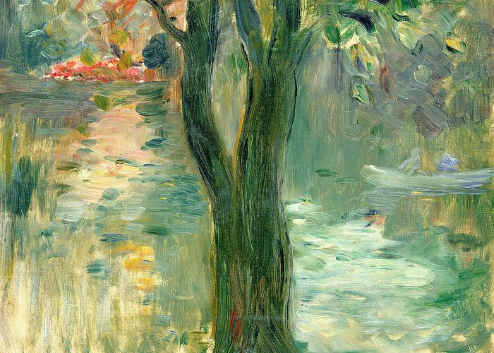 Setting Sun; Impressionist; Reflection Greeting Card featuring the painting Sunset Over The Lake Bois De Boulogne by Berthe Morisot