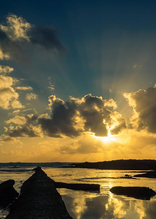 Sea Greeting Card featuring the photograph Sunset Over The Ocean Iv by Marco Oliveira