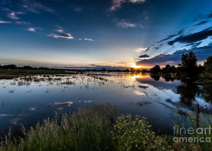 Nature Greeting Card featuring the photograph Sunset Over The River by Steven Reed