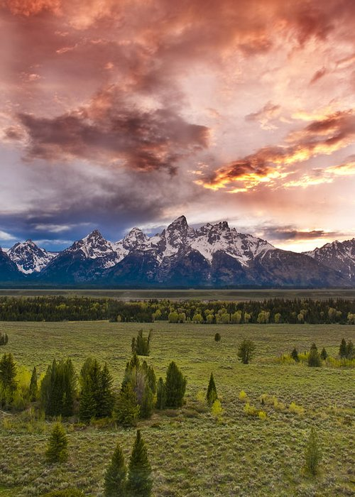 Grand Teton National Park Greeting Card featuring the photograph Sunset Over The Tetons by Greg Wyatt