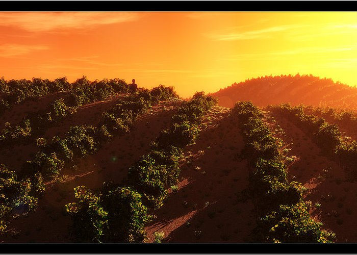 Landscape Greeting Card featuring the digital art Sunset Over The Valley by Tim Fillingim