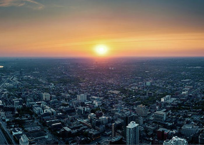 Downtown District Greeting Card featuring the photograph Sunset Over Toronto Downtown City by D3sign