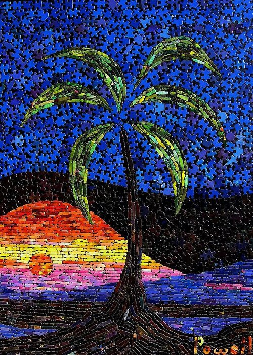 Sunset Greeting Card featuring the mixed media Sunset Palm by Doug Powell