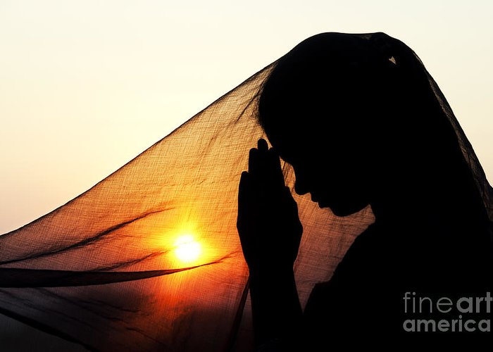 Girl Greeting Card featuring the photograph Sunset Prayers by Tim Gainey