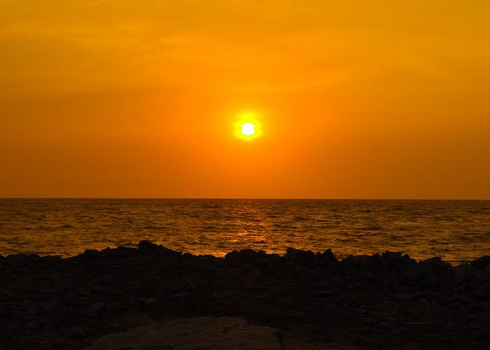 Landscape Greeting Card featuring the photograph Sunset by Rakesh KR