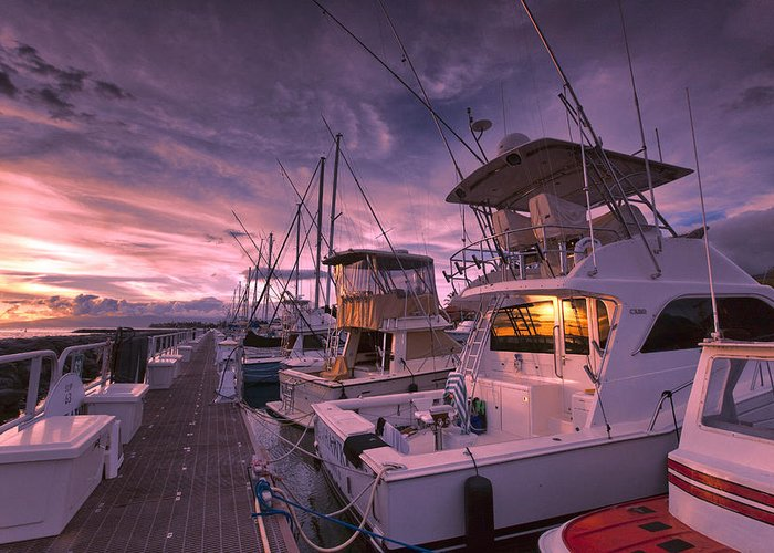 Lahaina Harbor Maui Hawaii Sunset Sky Boats Greeting Card featuring the photograph Sunset Reflection by James Roemmling
