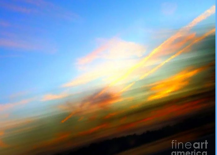 Sunset Greeting Card featuring the photograph Sunset Reflections - Abstract by Robyn King