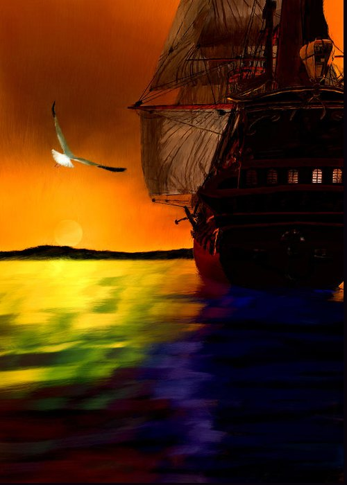 Ship Greeting Card featuring the painting Sunset Sails by Lourry Legarde