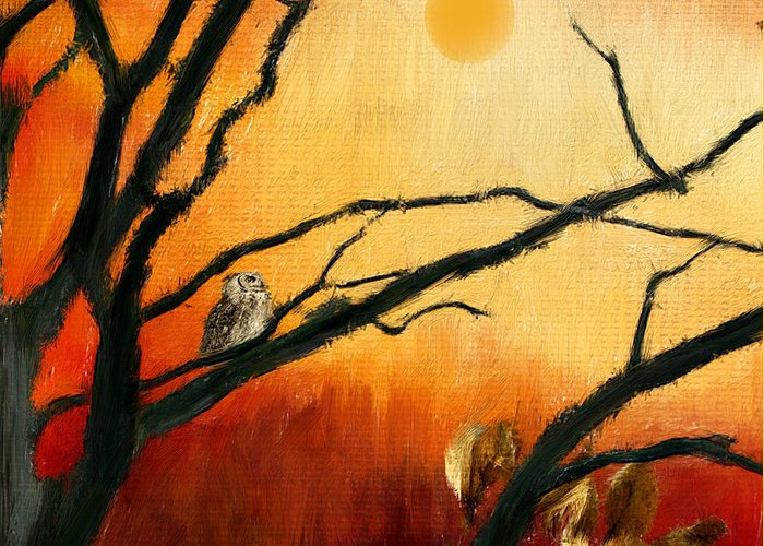 Owl At Sunset Greeting Card featuring the digital art Sunset Sitting by Lourry Legarde