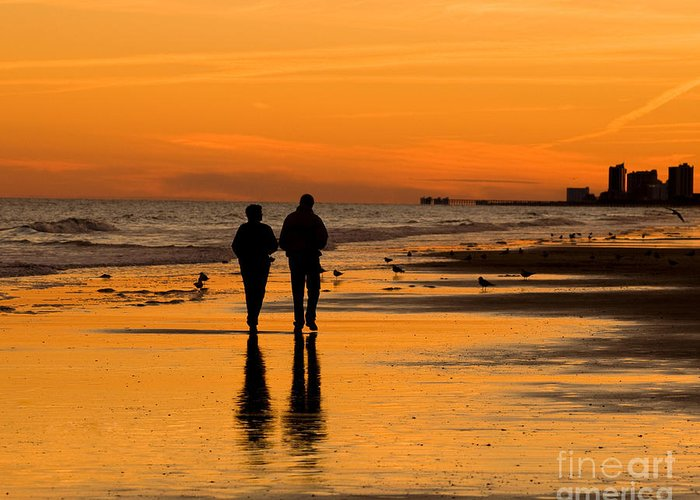 Sunset Greeting Card featuring the photograph Sunset Stroll by Al Powell Photography USA
