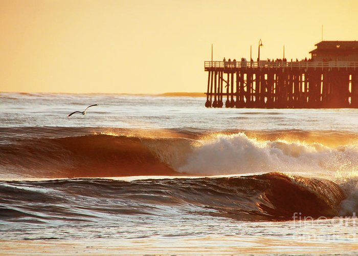 Sunset Greeting Card featuring the photograph Sunset Surf Santa Cruz by Paul Topp