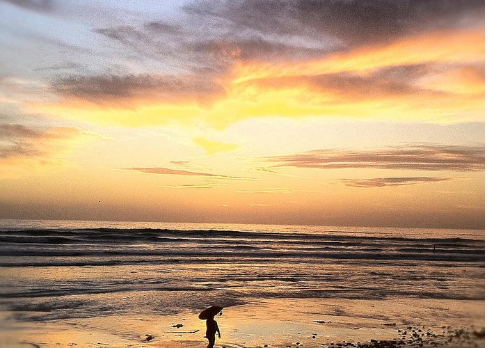 Sunset Surfer Print Framed Prints Greeting Card featuring the photograph Sunset Surfer by Paul Carter