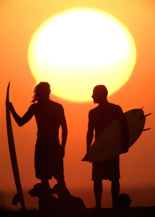 Surf Lifestyle Greeting Card featuring the photograph Sunset Surfers by Sean Davey