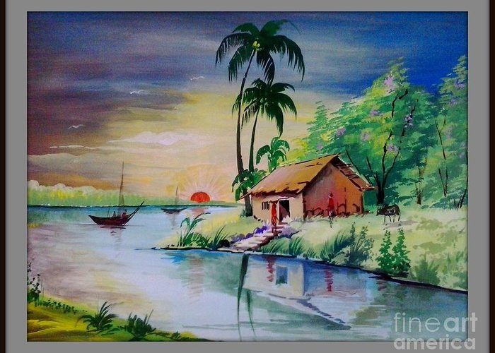 Sunset Time Poster Colour Painting Greeting Card For Sale By Sanjay