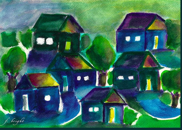 Sunset Greeting Card featuring the painting Sunset Village Watercolor by Frank Bright