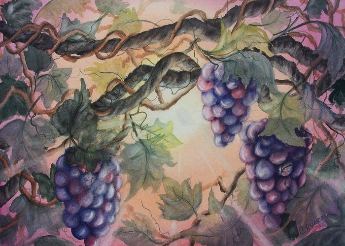 Grapes Greeting Card featuring the painting Sunset Vineyard by Conni Reinecke