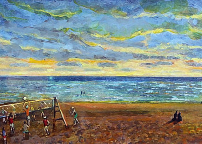 Old Silver Beach Greeting Card featuring the painting Sunset Volleyball At Old Silver Beach by Rita Brown