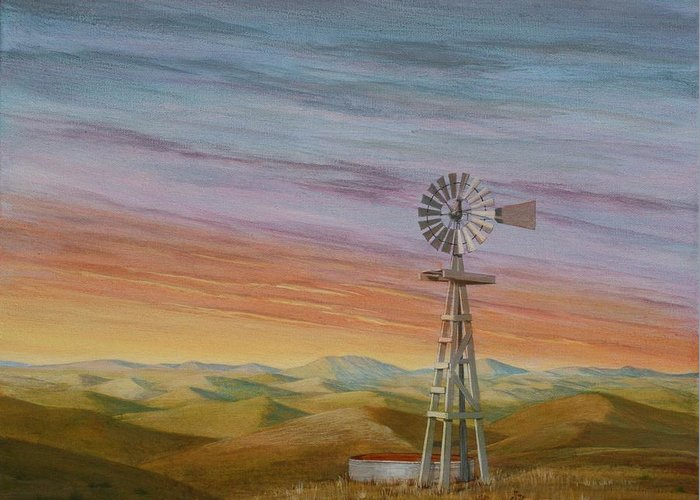 High Plains Greeting Card featuring the painting Windmill Sunset by J W Kelly