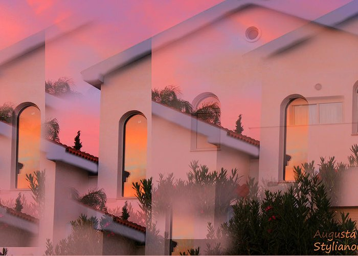 Sunset Greeting Card featuring the digital art Sunsets On Houses by Augusta Stylianou