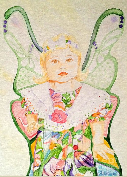 Girl Greeting Card featuring the painting Sunshine Fairy by Diane Phelps