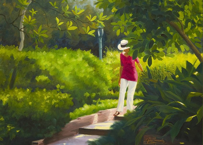 Garden Greeting Card featuring the painting Sunspots and Shadow by Gary Hernandez