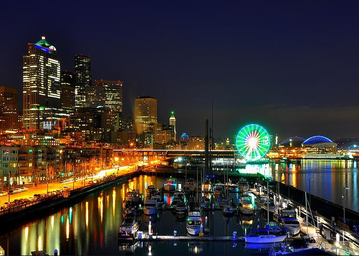 Seattle Greeting Card featuring the photograph Super Bowl Eve In Seattle by Donna Read