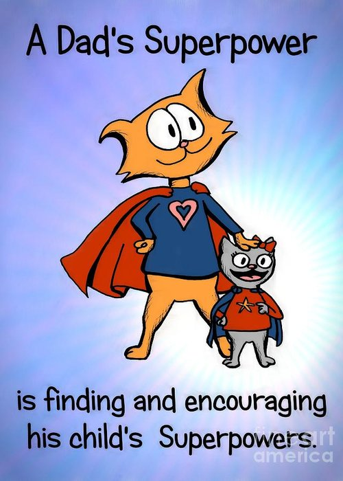 Super Greeting Card featuring the drawing Super Dad And Daughter by Pet Serrano