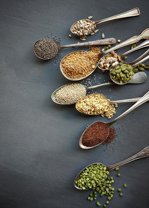 In A Row Greeting Card featuring the photograph Super Food Grains On Spoons by Lew Robertson