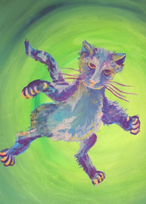 Cat Greeting Card featuring the painting Super Kitty by Cherie Sexsmith