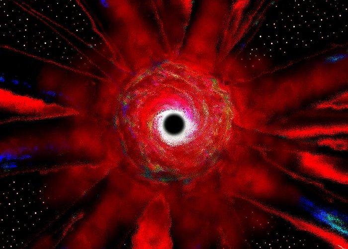 Super Massive Black Hole Greeting Card featuring the painting Super Massive Black Hole by David Lee Thompson