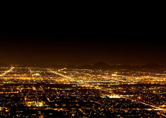 united States Greeting Card featuring the photograph Super Moon Over Phoenix Arizona by Susan Schmitz