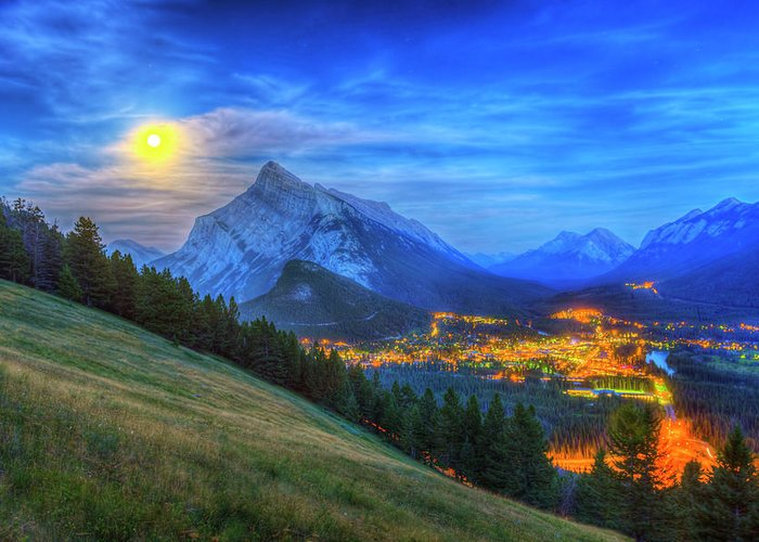 Alan Dyer Greeting Card featuring the photograph Super Moonrise Over Banff by Alan Dyer