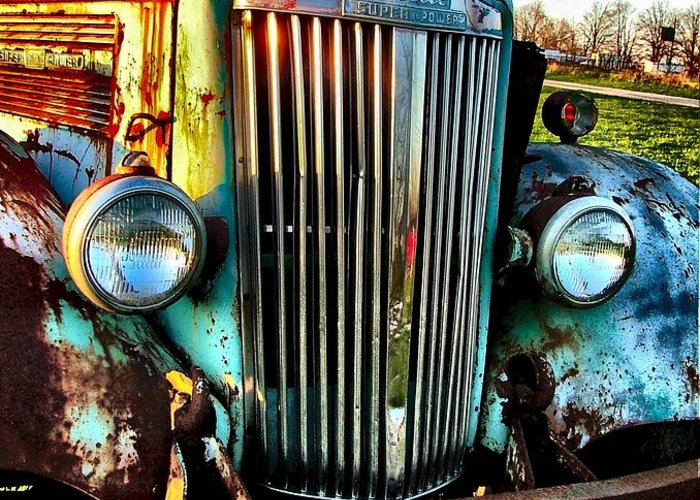 Antique Automobiles Greeting Card featuring the photograph Super White Power by Julie Dant