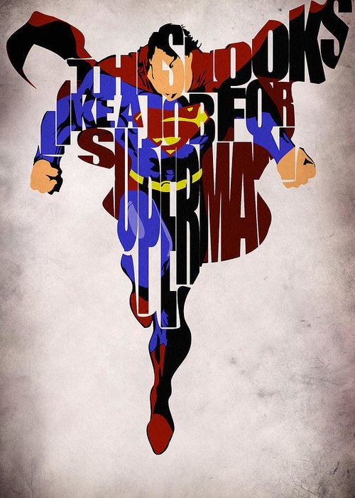 Superman Greeting Card featuring the drawing Superman - Man Of Steel by Ayse Deniz