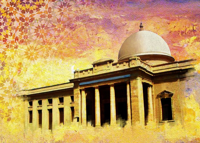 Pakistan Greeting Card featuring the painting Supreme Court Karachi by Catf