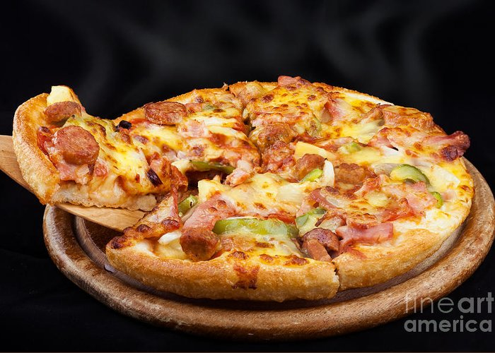 Pizza Greeting Card featuring the photograph Supreme Hot Pizza by Anek Suwannaphoom