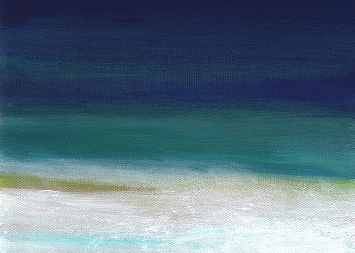 Abstract Greeting Card featuring the painting Surf And Sky- Abstract Beach Painting by Linda Woods