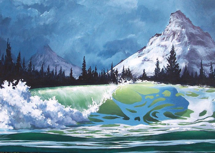 Wave Greeting Card featuring the painting Surf and Snow by Philip Fleischer