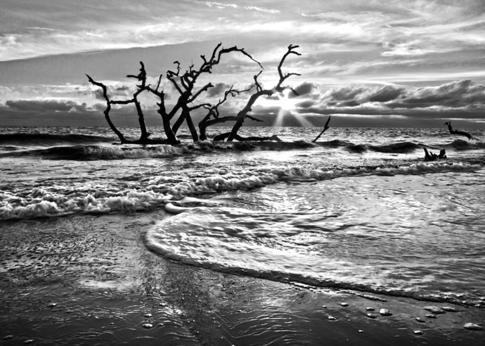 Clouds Greeting Card featuring the photograph Surf At Driftwood Beach by Debra and Dave Vanderlaan