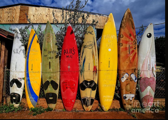 Surf Greeting Card featuring the photograph Surf Board Fence Maui Hawaii by Edward Fielding