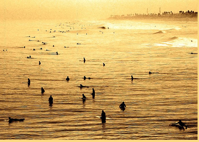 Surf Greeting Card featuring the photograph Surf Convention by Ron Regalado