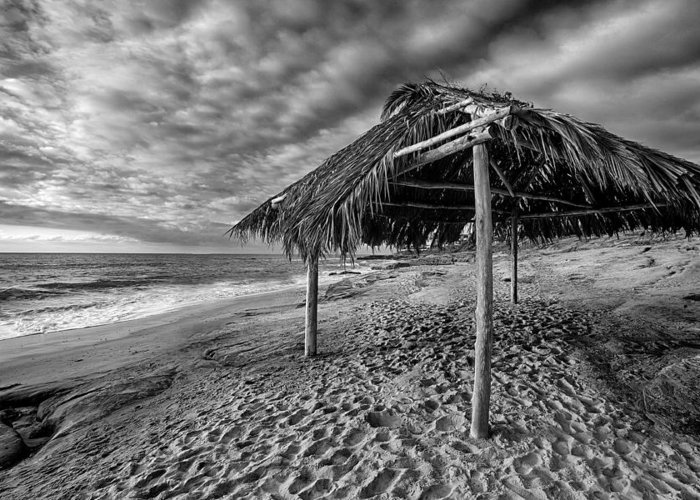 Beach Greeting Card featuring the photograph Surf Shack - Black And White by Peter Tellone