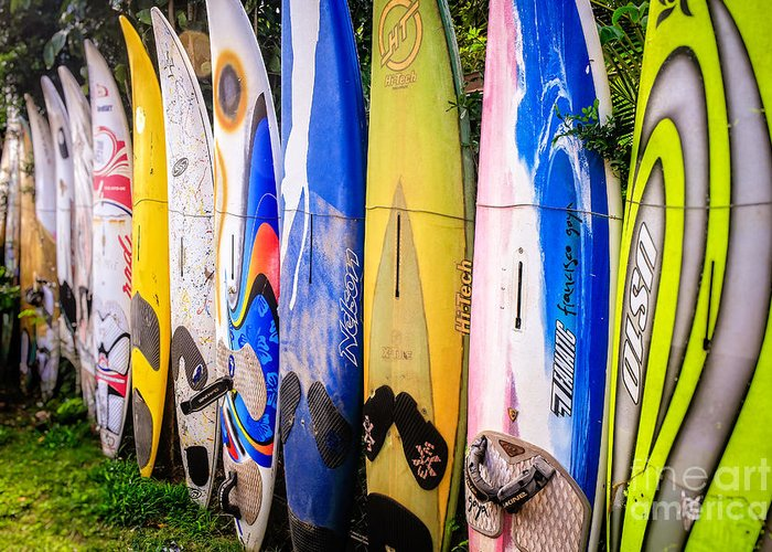 Fielding Greeting Card featuring the photograph Surfboard Fence Maui Hawaii by Edward Fielding