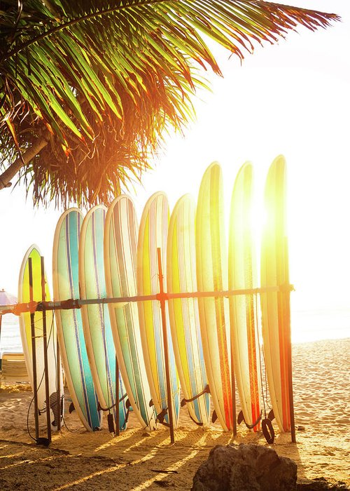 Recreational Pursuit Greeting Card featuring the photograph Surfboards At Ocean Beach by Arand