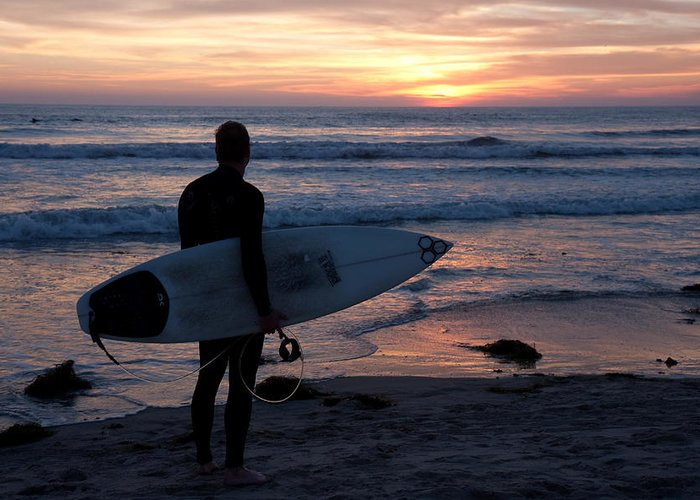 Surfer Greeting Card featuring the photograph Surfer At Sunset by Nathan Rupert
