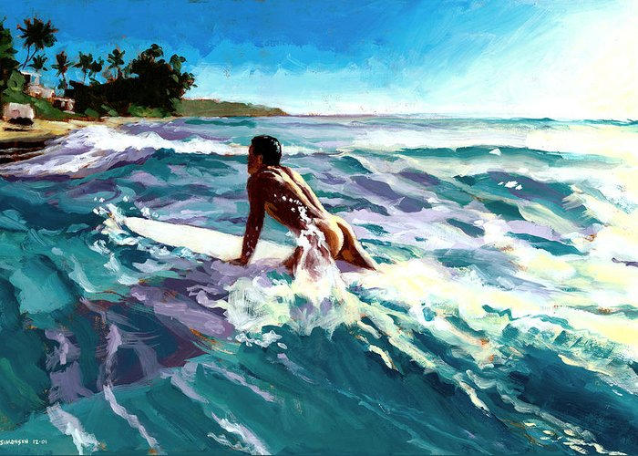 Male Nude Surfer Greeting Cards